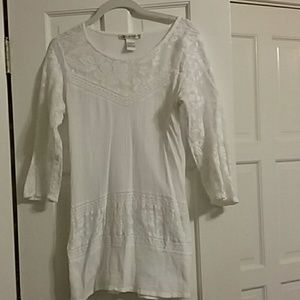 White cotton blouse with lace/embroidered sleeves